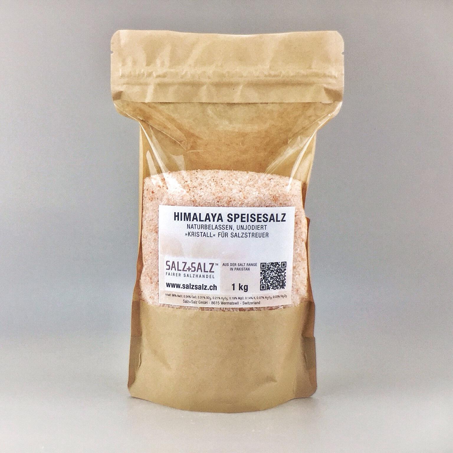 Himalayasalz Kristall-Koernung für Salzstreuer im Papierbeutel 1 kg
