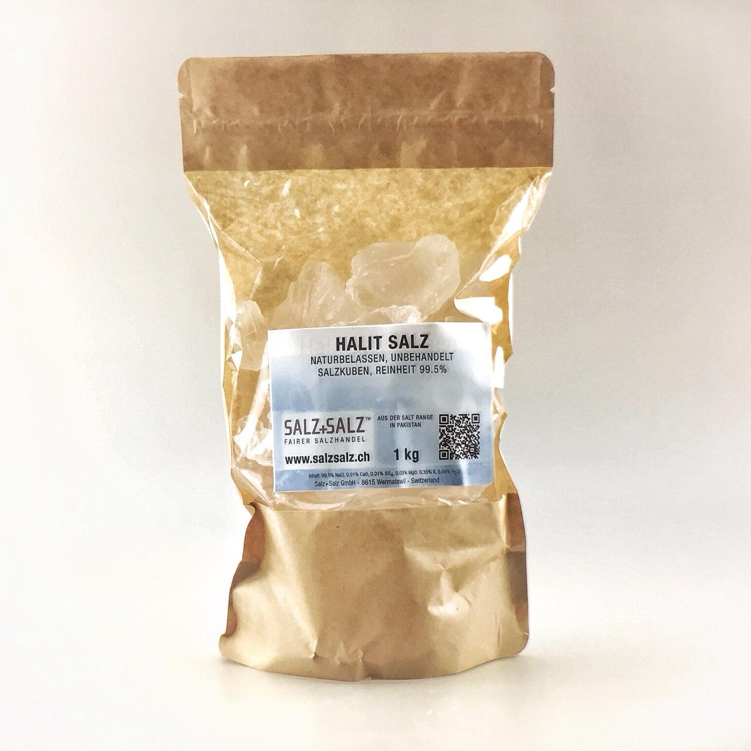 Halit Salzkristalle naturrein im Papierbeutel 1 kg