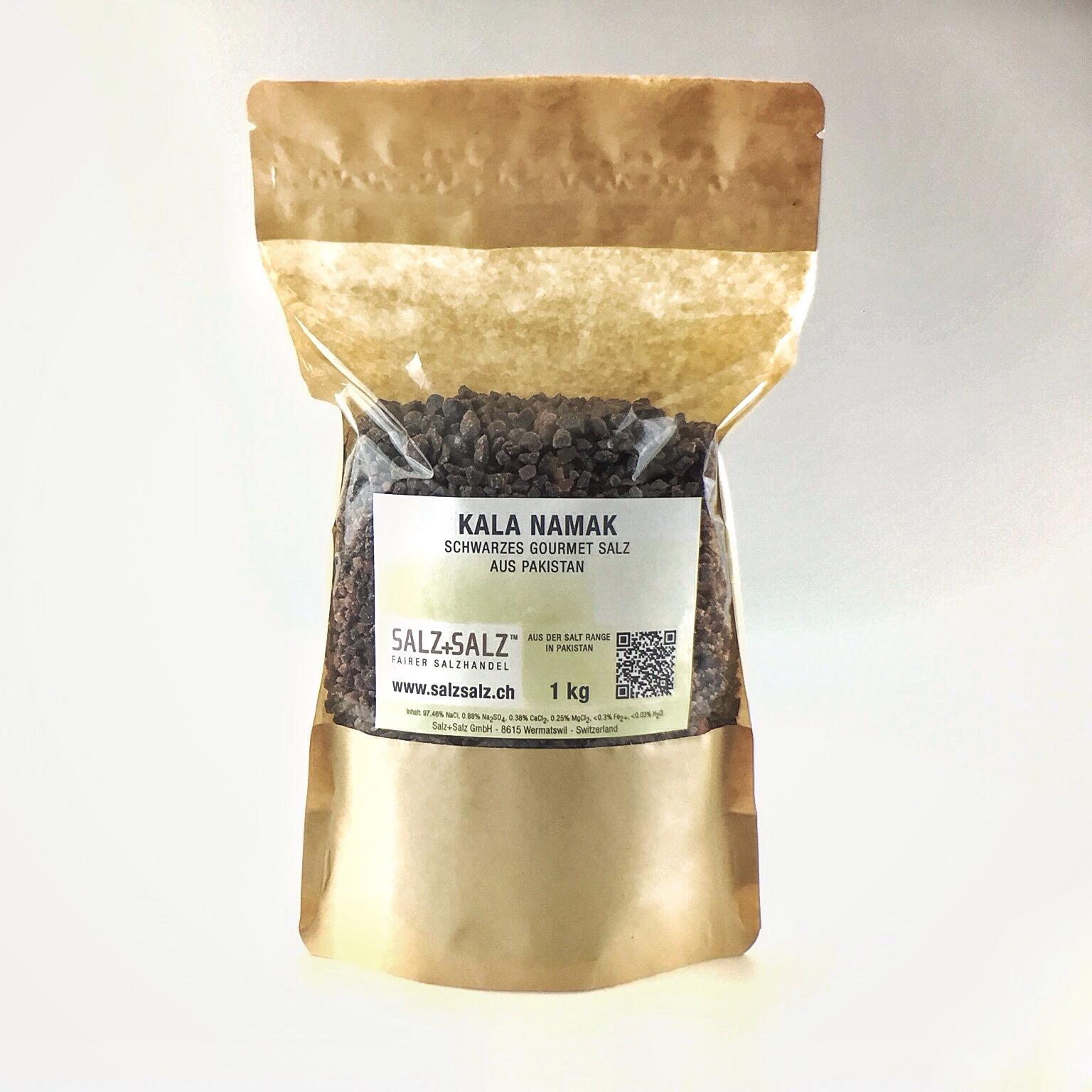 Kala Namak schwarzes Salz grob gemahlen im Papierbeutel 1 kg