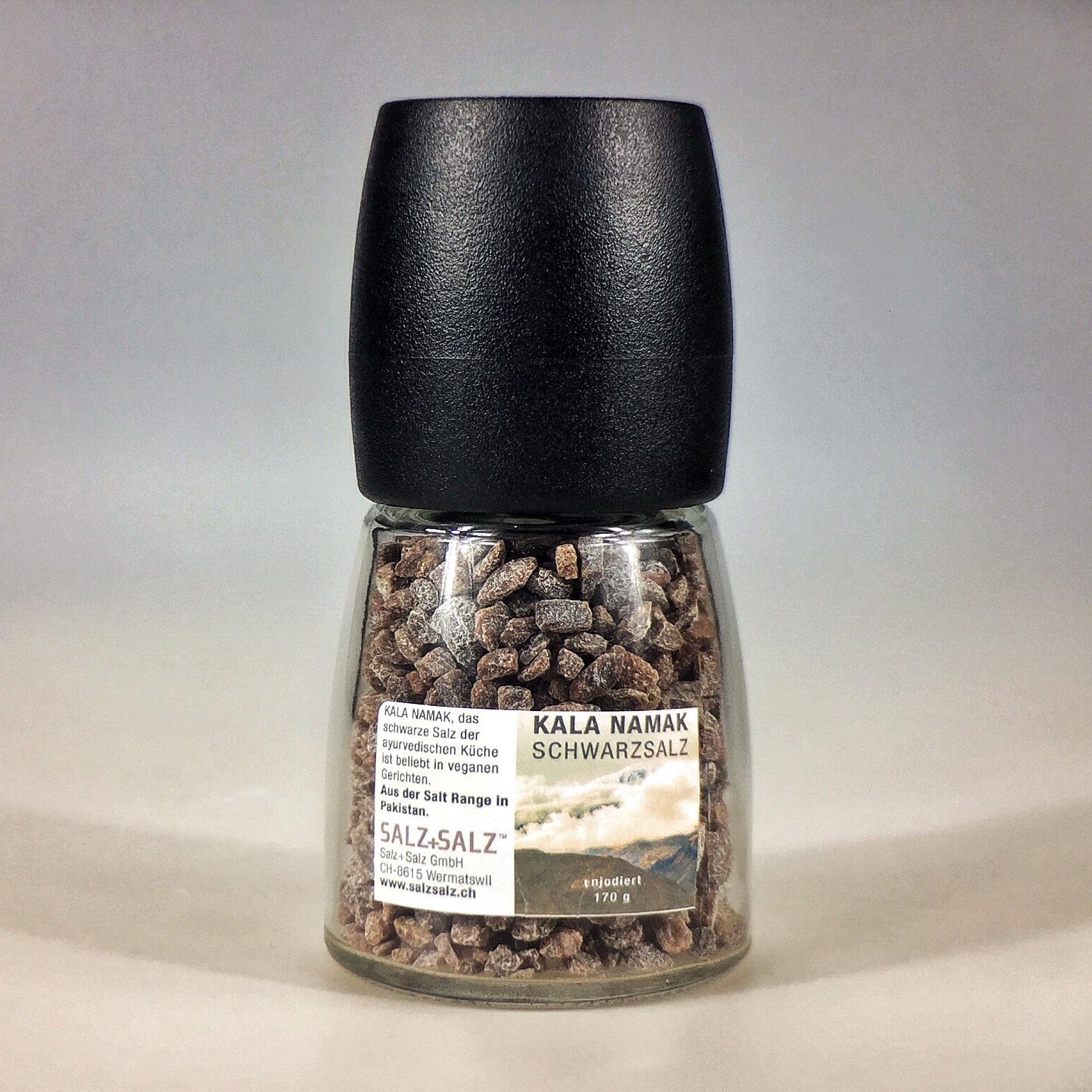 Kala Namak schwarzes Salz in Salzmühle 170 g