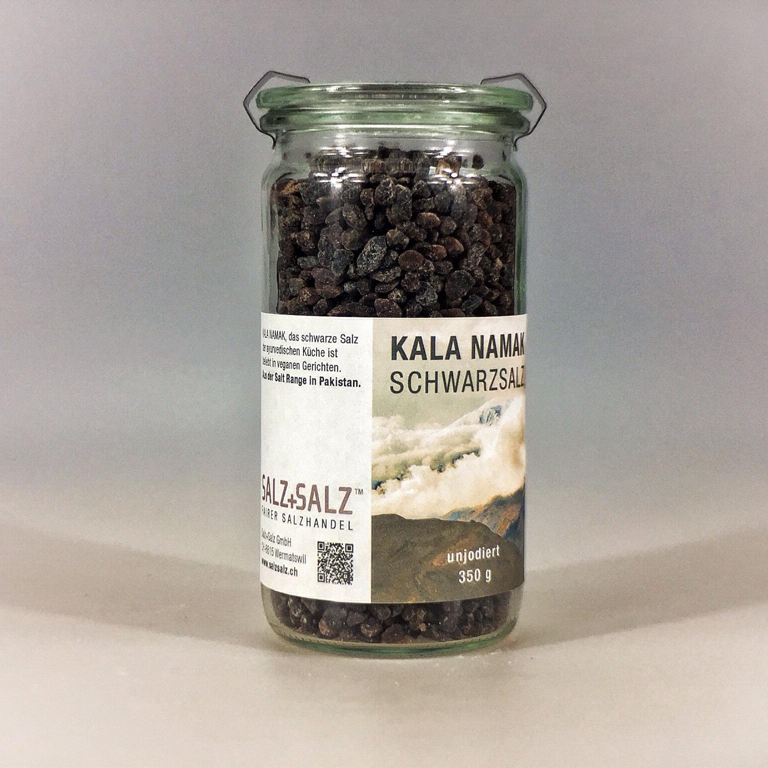 Kala Namak schwarzes Salz grob gemahlen im Glas 350 g