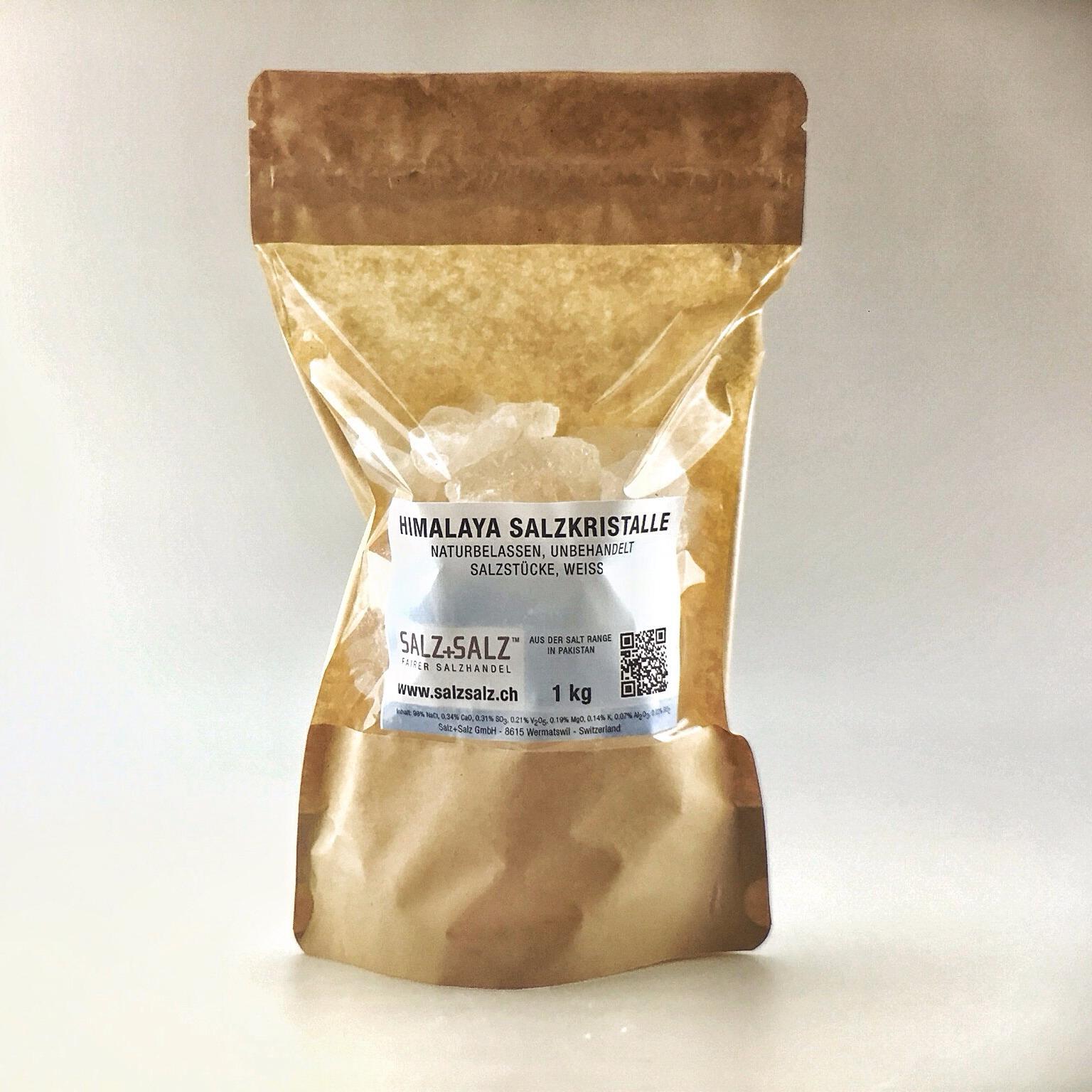 Himalaya Salzkristalle weiss im Papierbeutel 1kg