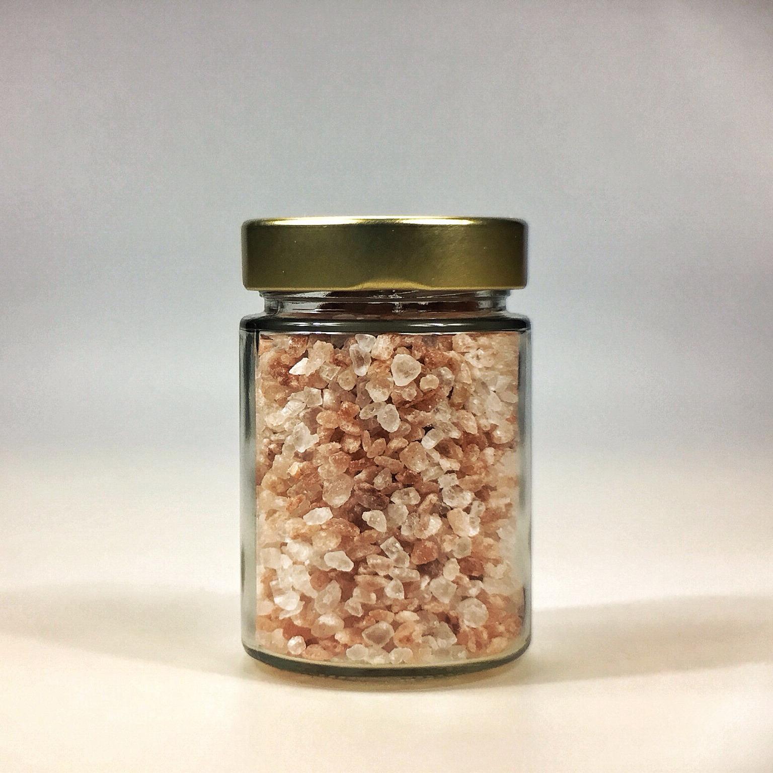 Himalaya Salz grob gemahlen für Salzmühle im kleinen Glas mit Golddeckel