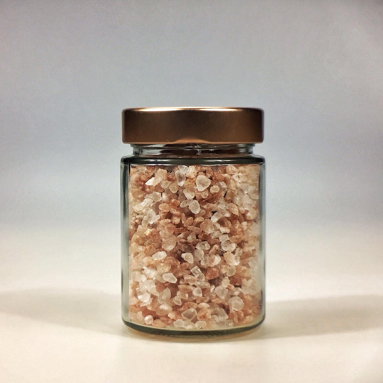 Himalaya Salz grob gemahlen für Salzmühle im kleinen Glas mit Kupferdeckel