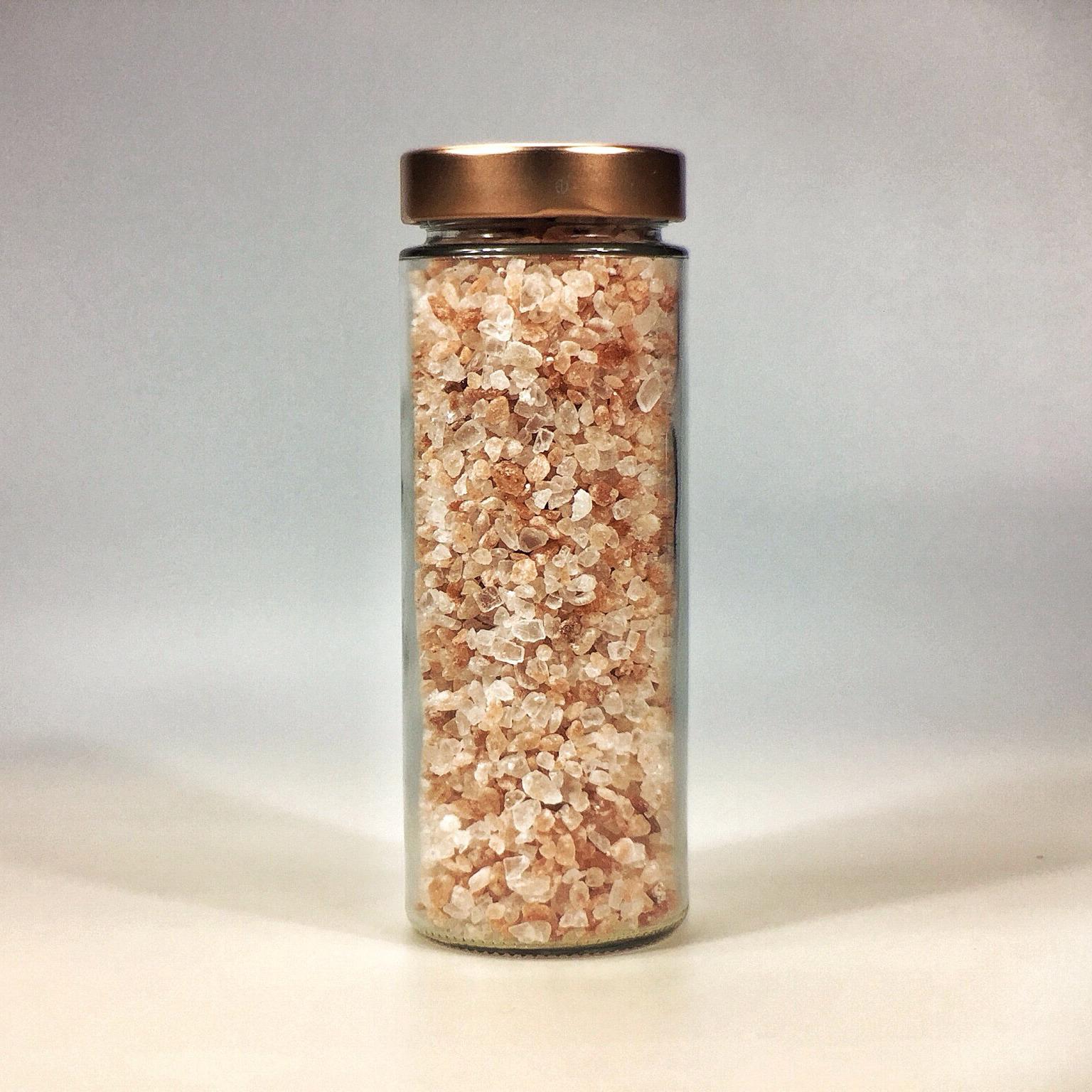 Himalaya Salz grob gemahlen für Salzmühle im grossen Glas mit Kupferdeckel