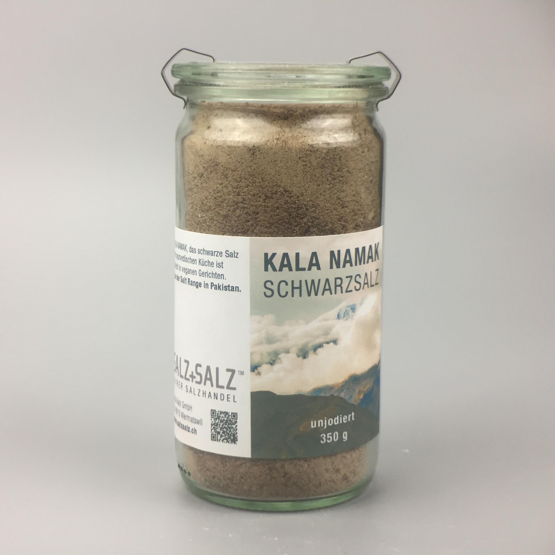 Kala Namak schwarzes Salz fein gemahlen im Glas 350g