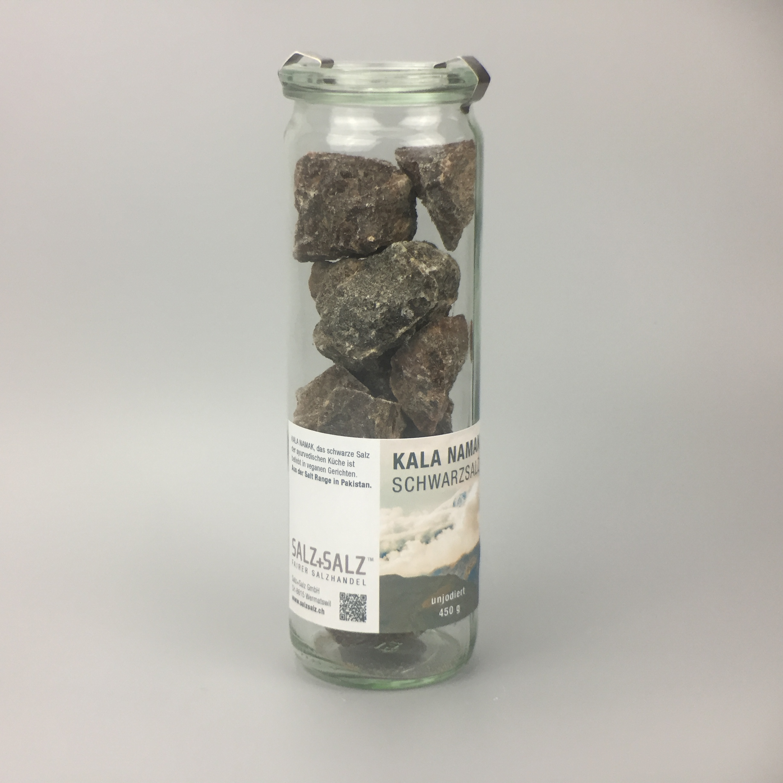 Kala Namak schwarzes Salz Kristalle im Glas 650g