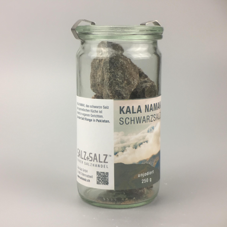 Kala Namak schwarzes Salz Kristalle im Glas 350g