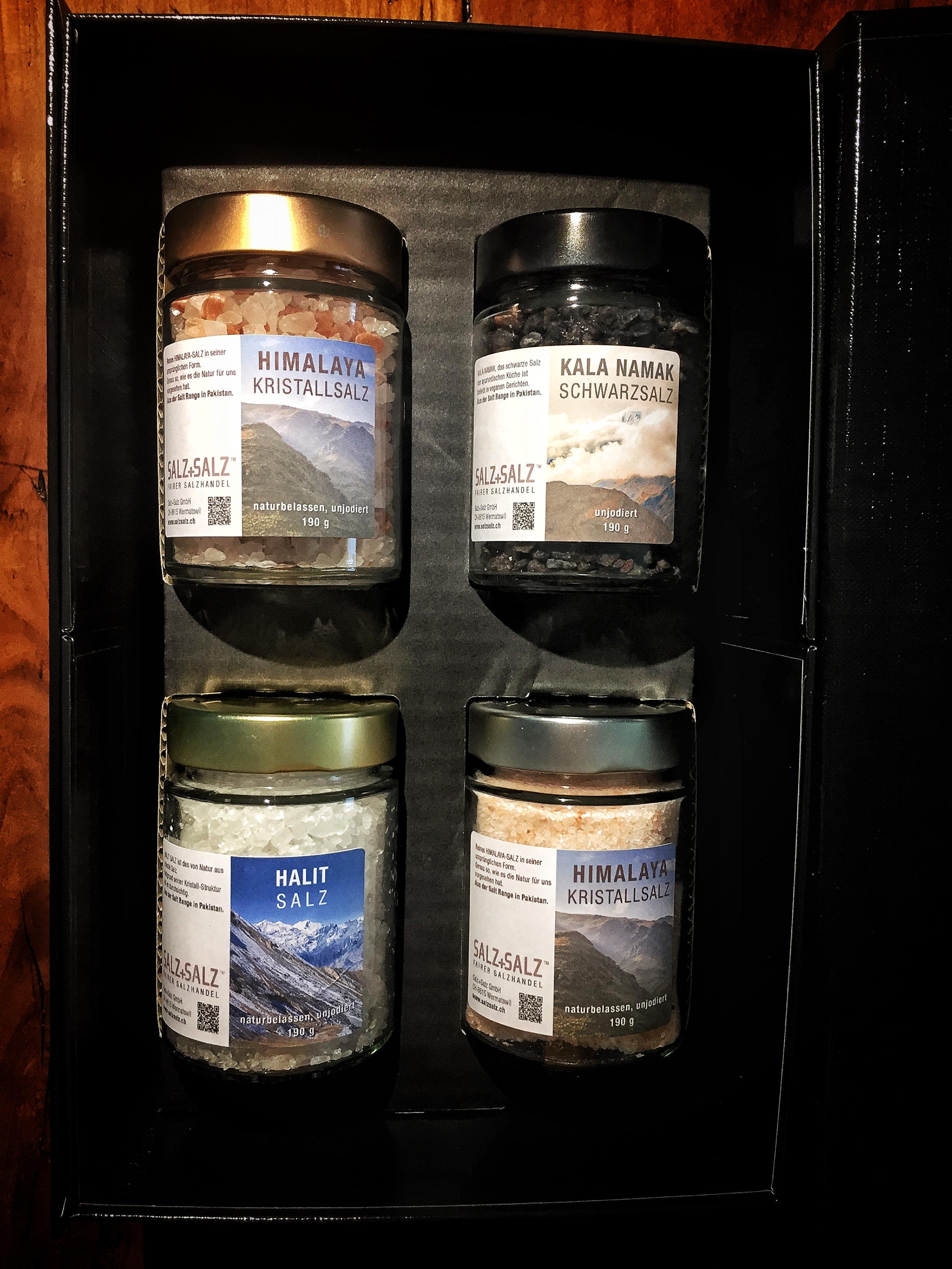 Himalayasalz Kundengeschenk 4 kleine Gläser